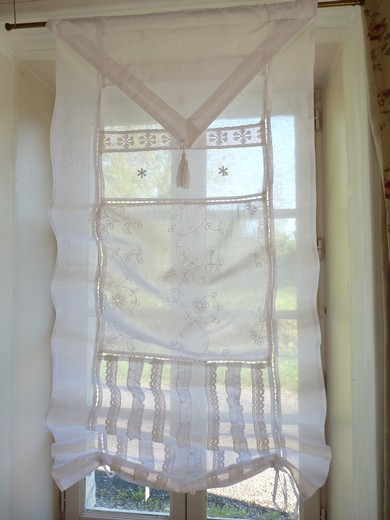 rideaux store broderie Anglaise Blanc