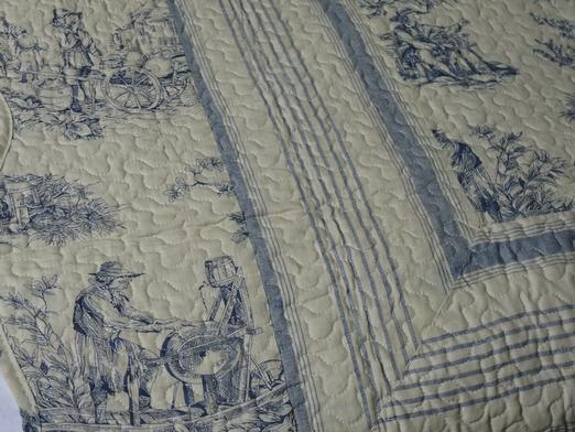couvre lit toile de jouy bleu plaid toile de jouy bleue 150/150 cm couvre lit toile de jouy bleu