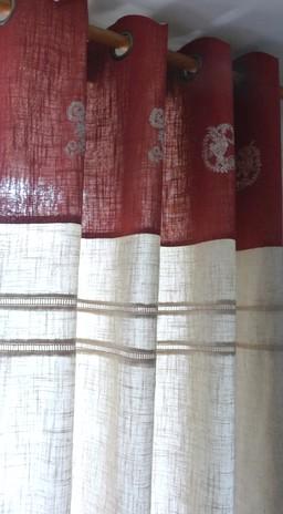 Les rideaux assortis nos boutis en cotonnade imprim e - Boutis et rideaux assortis ...