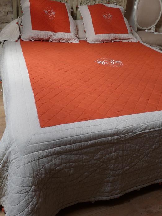 couvre lit boutis orange Couvre lit boutis Venise Orange et Lin 235/260 cm (lin et coton) couvre lit boutis orange