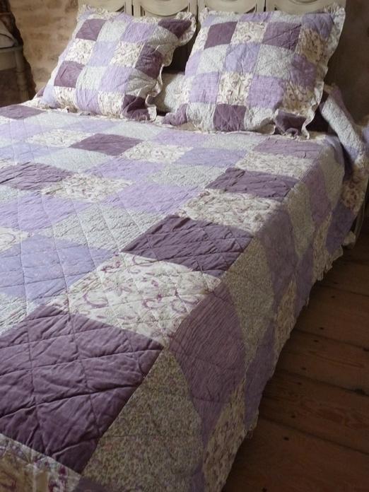 couvre lit boutis violet boutis violet parme mauve grande taille, couvre lit campagne 245  couvre lit boutis violet