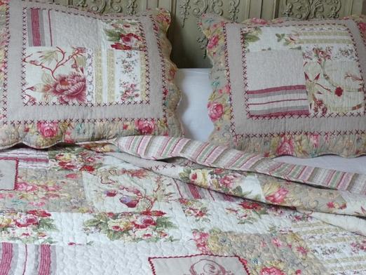couvre lit boutis patchwork point de croix 230 250 cm. Black Bedroom Furniture Sets. Home Design Ideas