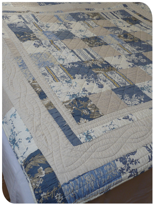 Plaid-boutis  patchwork bleu
