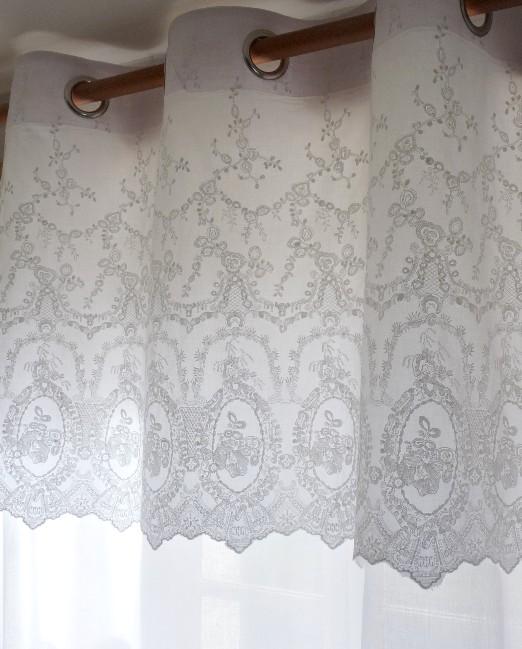 rideau dentelle organdi blanc 140/260 cm