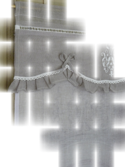 store monogramme gris tulle blanc